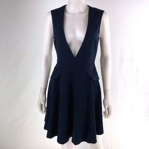 Zara Woman Small Navy Knee Length Sleeveless Dress
